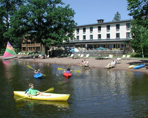 Kayaks, beach, resort lodge